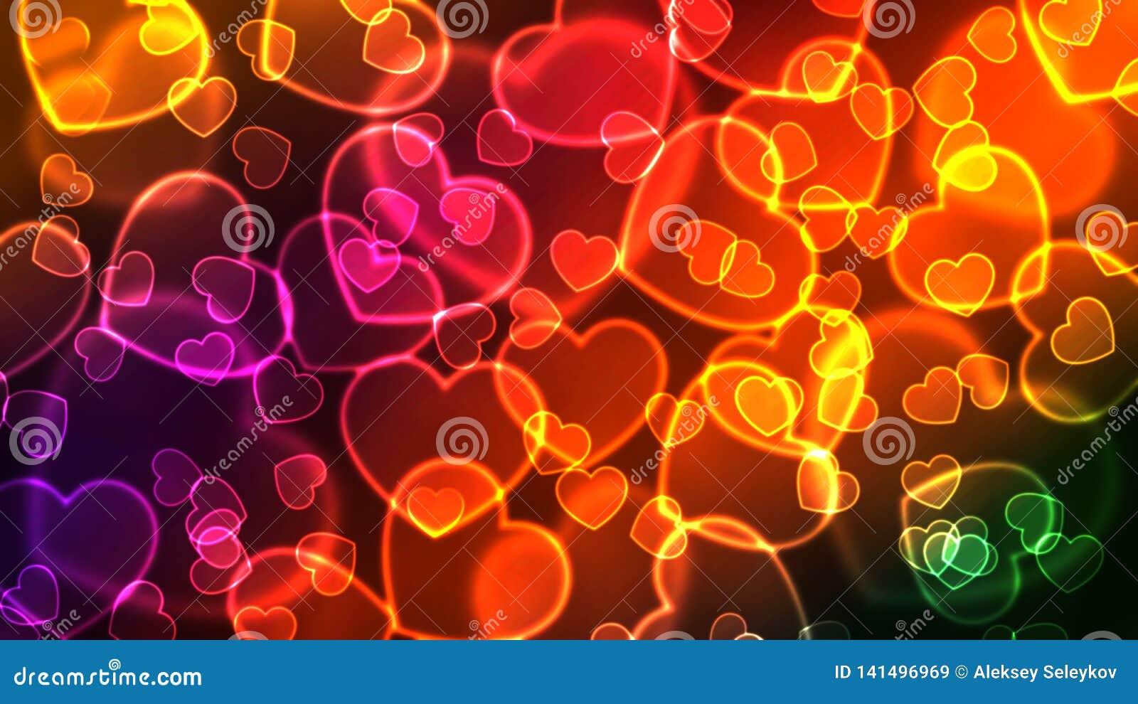 Många glödande färgrika hjärtor på en mörk bakgrund