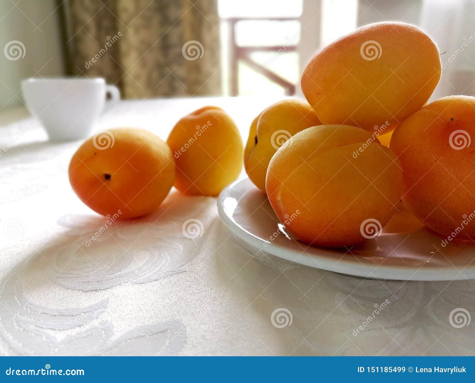 Många gula mogna aprikors på en vit platta