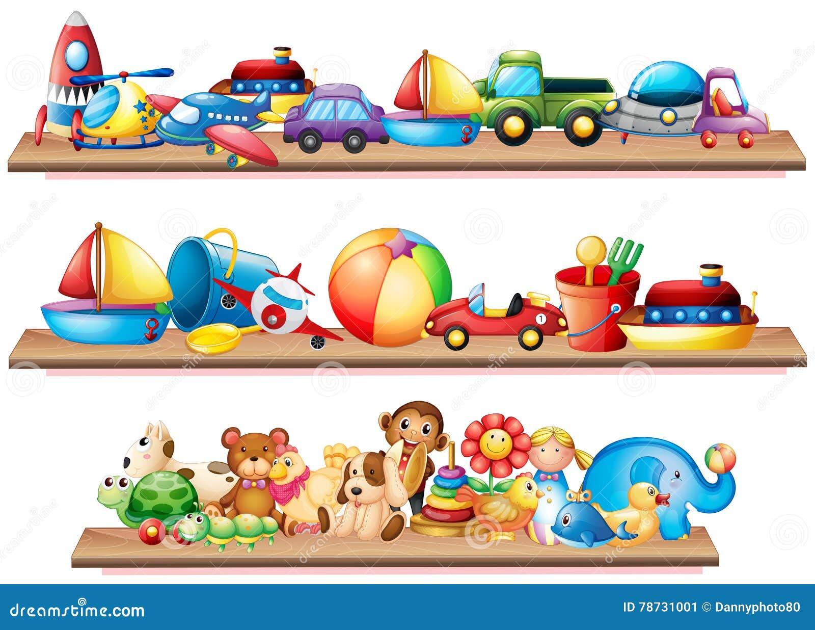 Många leksaker på trähyllor