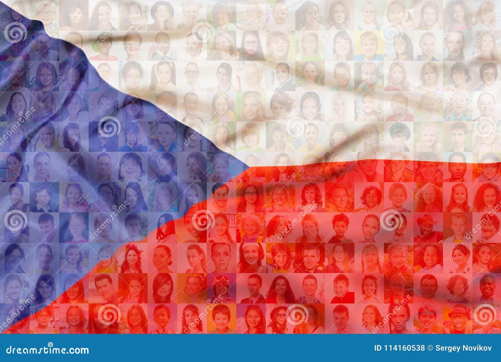 Många olika framsidor på Tjeckienflagga