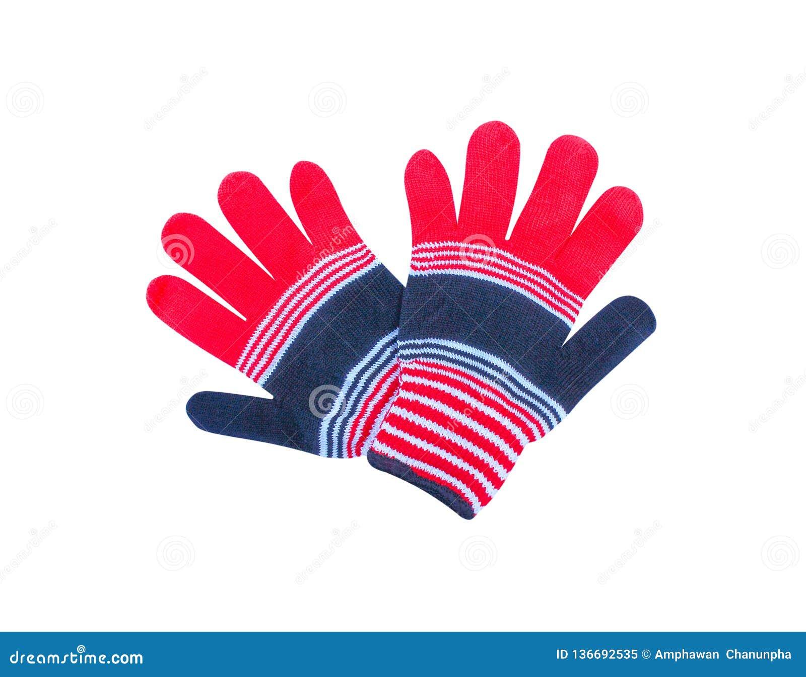 Mångfärgade färgrika handskar som isoleras på vit bakgrund med den röda urklippbanan, vitt, svart