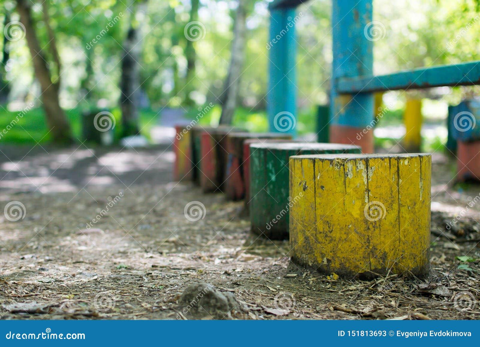 Mångfärgade stubbar i sommargräsplanen parkerar
