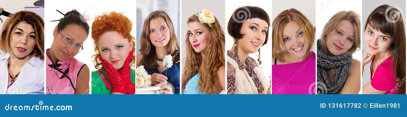 Mångfaldkvinnor som ler collage för lyckauttryckssamling