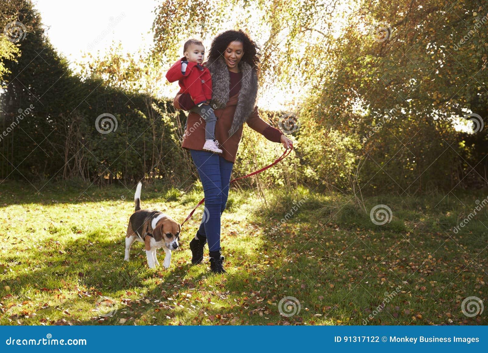 Mère avec l enfant prenant le chien pour la promenade en Autumn Garden