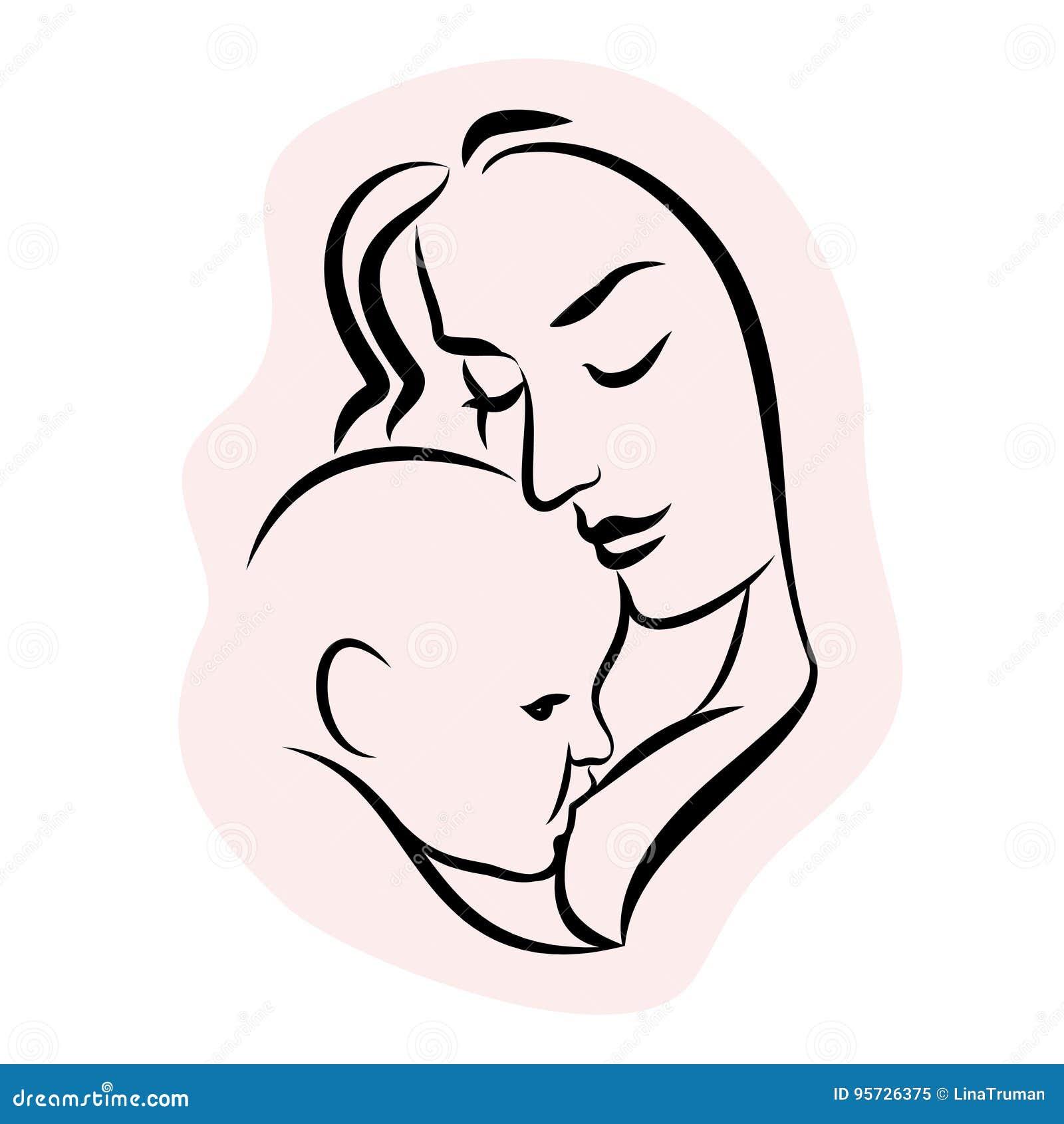 Mère avec la chéri Symbole stylisé d ensemble Allaiter de femme
