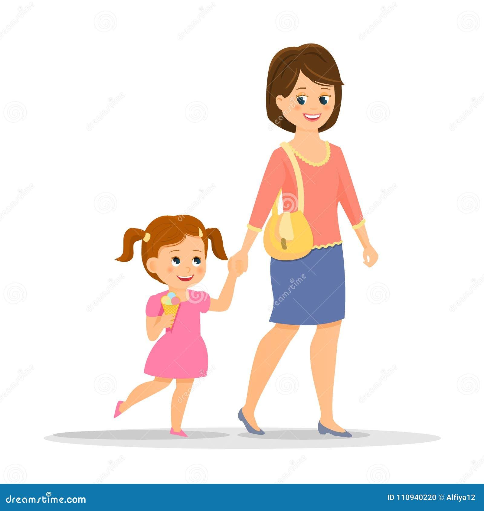 Mère De Bande Dessinée Avec Sa Fille Illustration De Vecteur