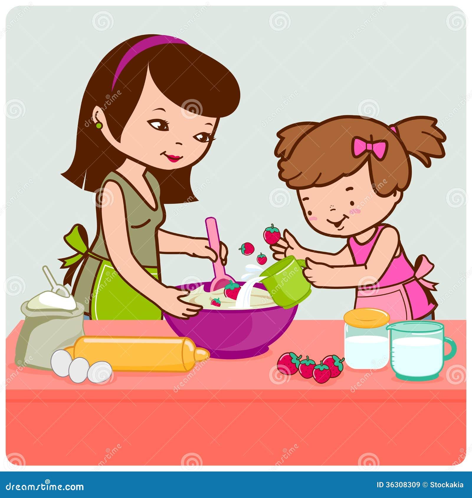 m 232 re et fille faisant cuire dans la cuisine images libres de droits image 36308309