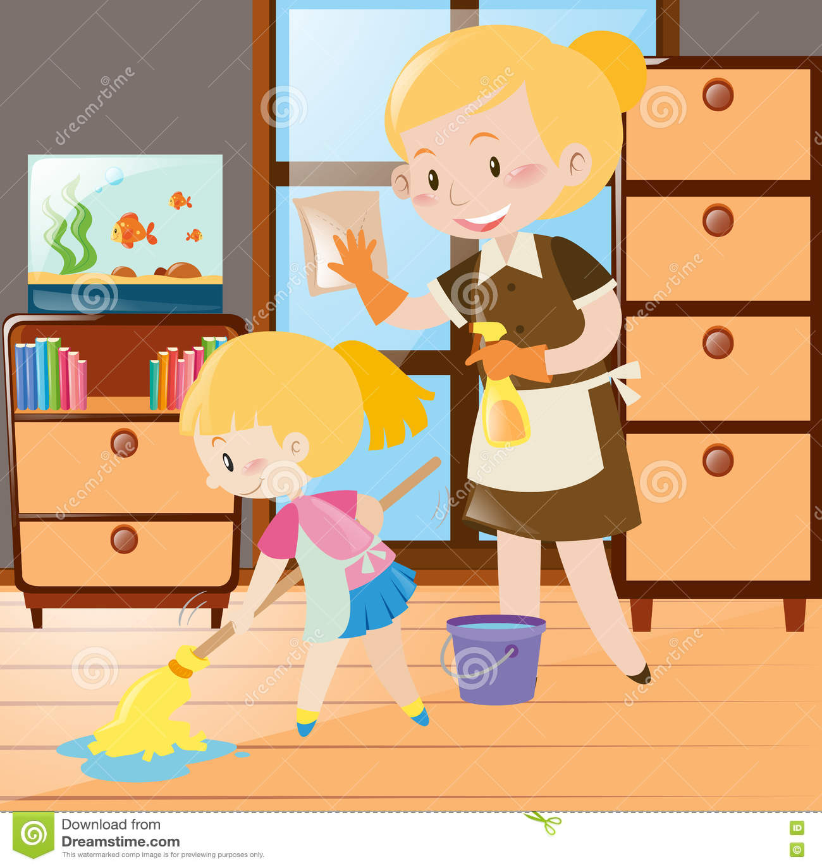 Mère Et Fille Nettoyant La Chambre Illustration de Vecteur ...