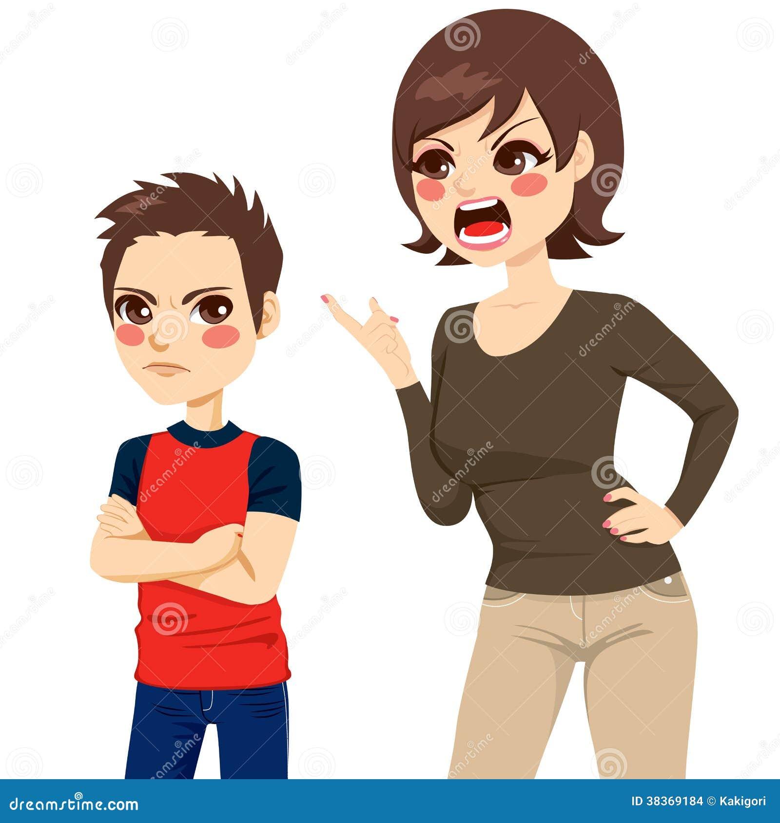 Illustration de la jeune mère de renversement grondant le garçon ...