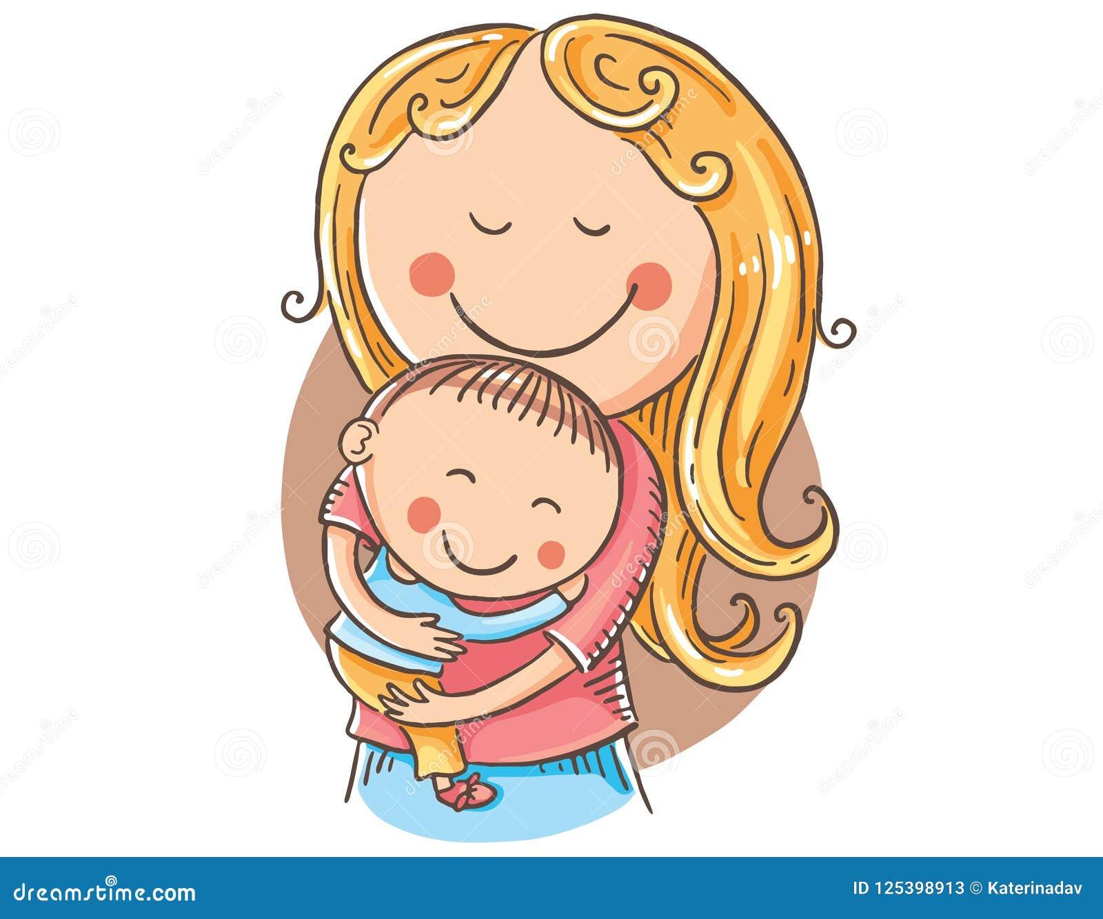 Mere Heureuse De Bande Dessinee Avec Des Enfants Clipart De Vecteur Illustration De Vecteur Illustration Du Enfants Clipart 125398913