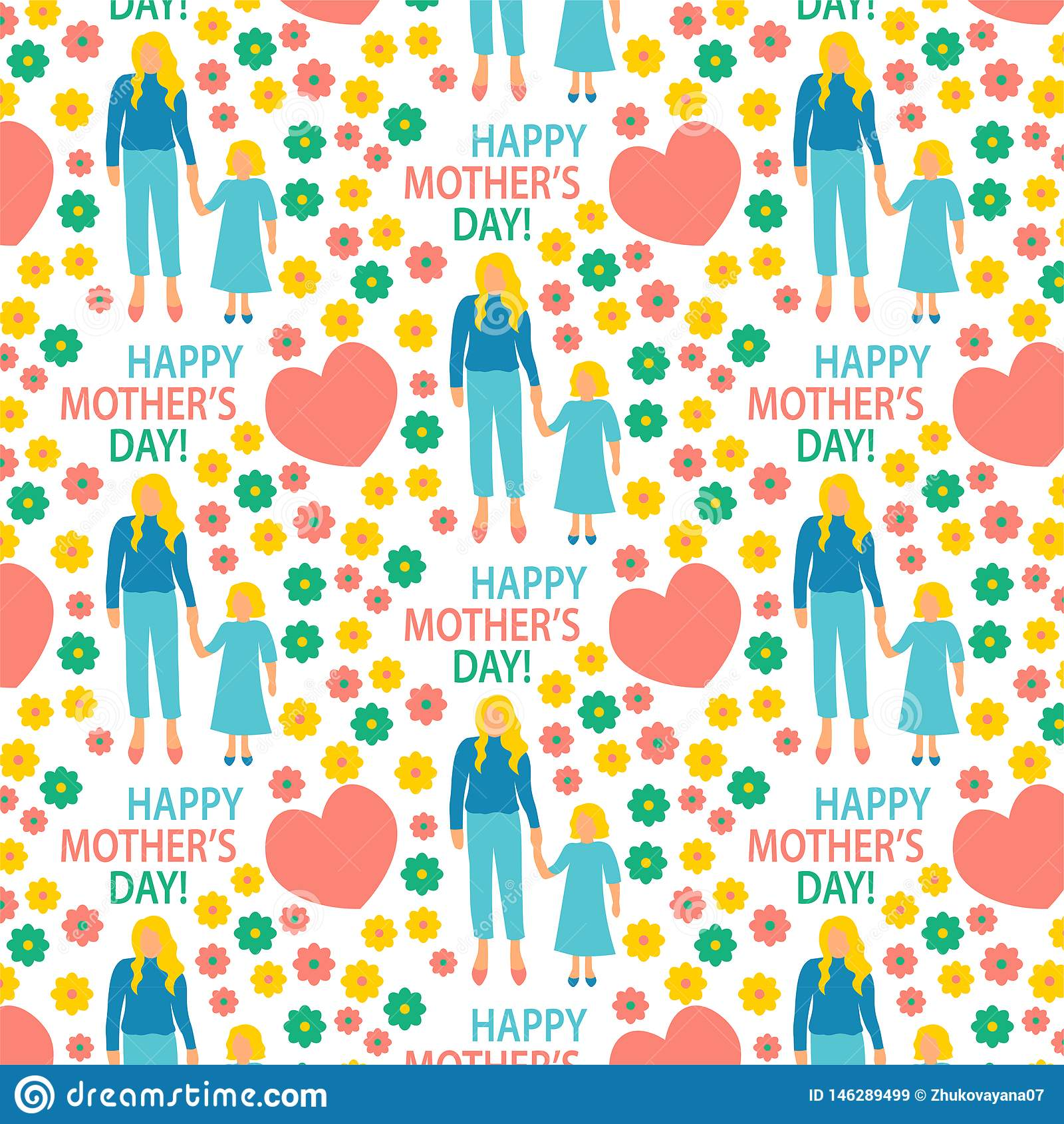 Mère plate d illustration de style de carte de voeux avec la copie sans couture de modèle de fille heureuse de maternité d affich