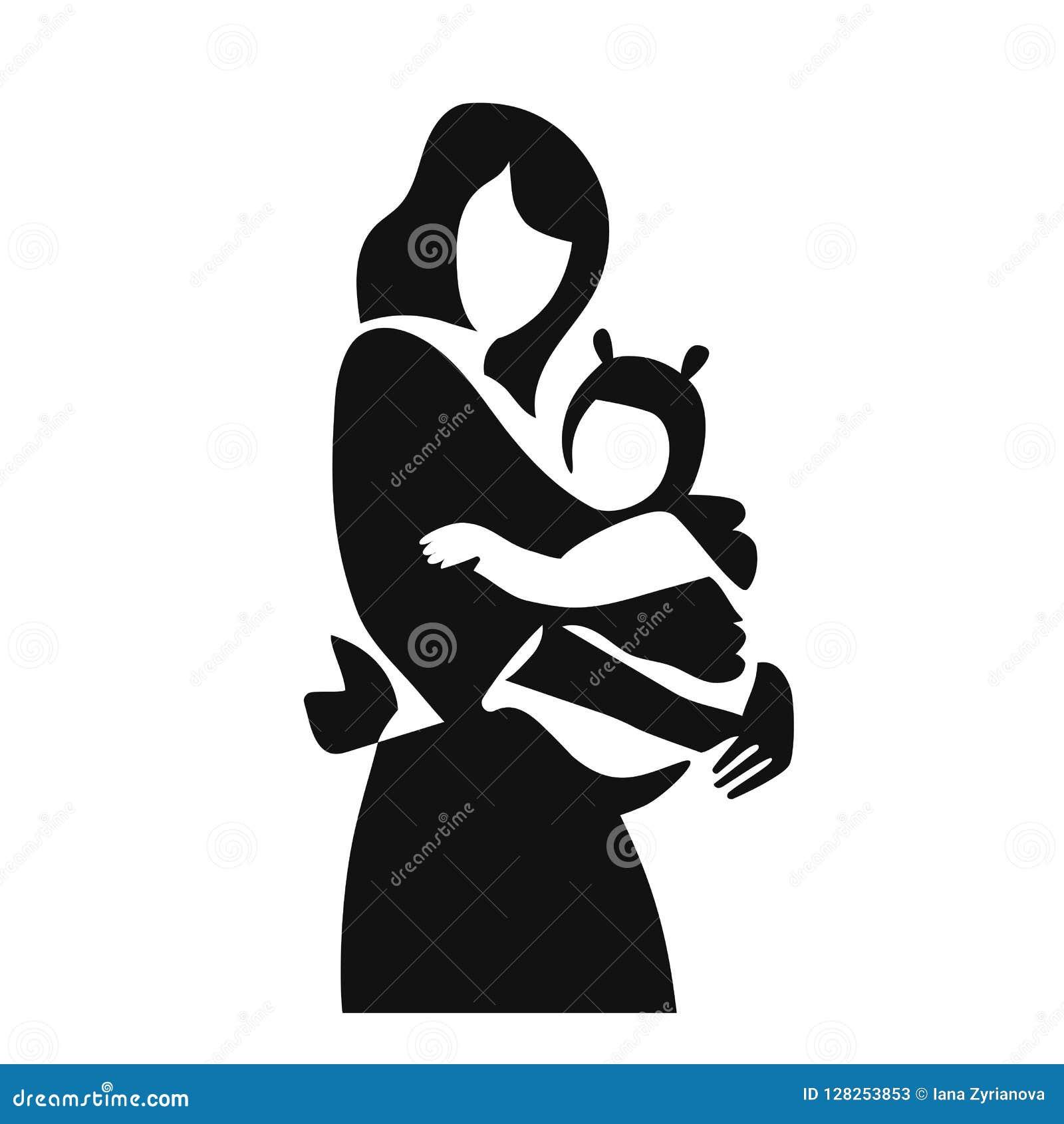 Mère simple d illustration de vecteur avec son bébé dans l autocollant d icône de bride Bébé de port dans la bride