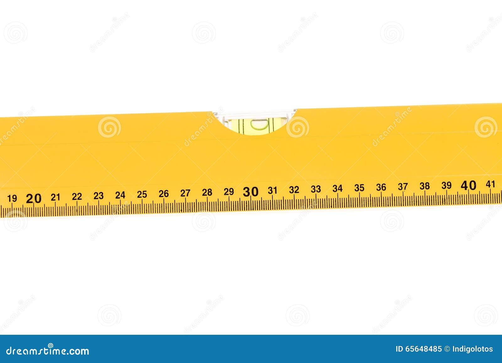 Mètre jaune de niveau de bloc avec la bulle