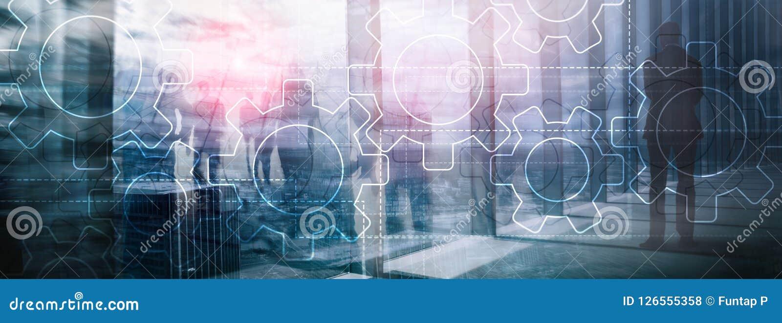 Mécanisme de vitesses de double exposition sur le fond brouillé Affaires et concept industriel d automatisation des processus