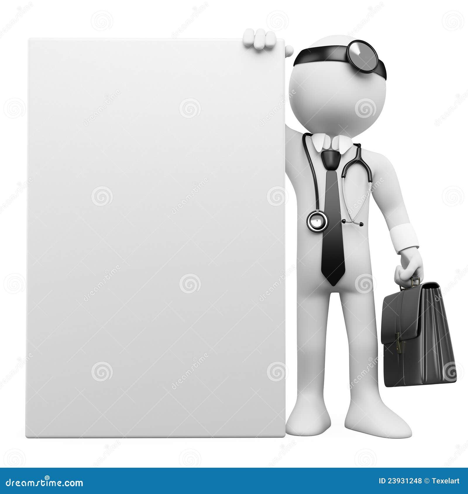 Médecin de famille 3D avec une affiche blanc