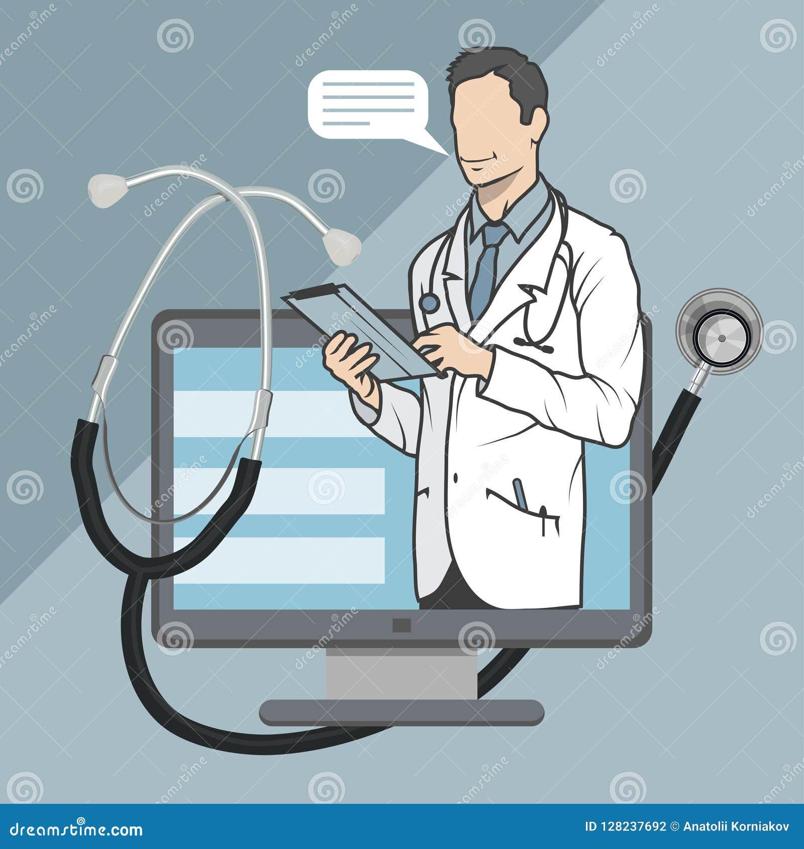 Médecin en ligne, consultation en ligne et appui, emblème mobile de médecine, icône, symbole, illustration, vecteur, docteur en l