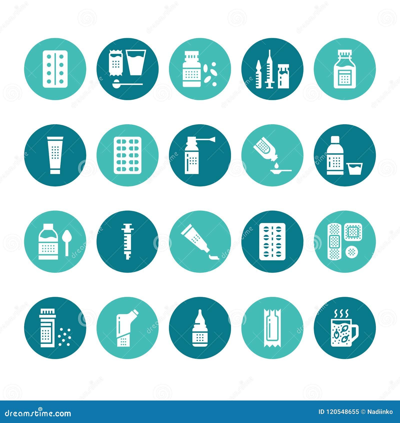 Médecines, icônes de glyph de formes galéniques Pharmacie, comprimé, capsules, pilules, antibiotiques, vitamines, calmants médica