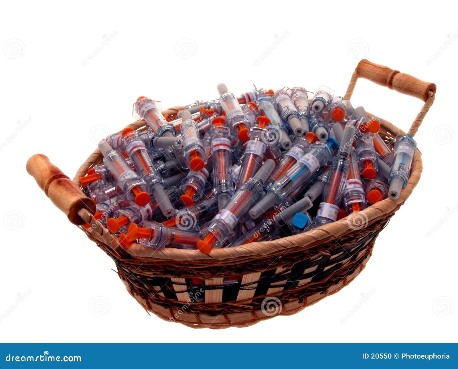 Médico: Cesta de seringas usadas