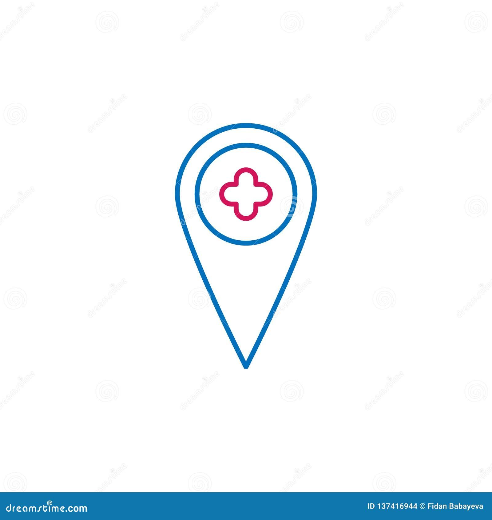Médico, el placeholder coloreó el icono Elemento del ejemplo de la medicina Las muestras y el icono de los símbolos se pueden uti