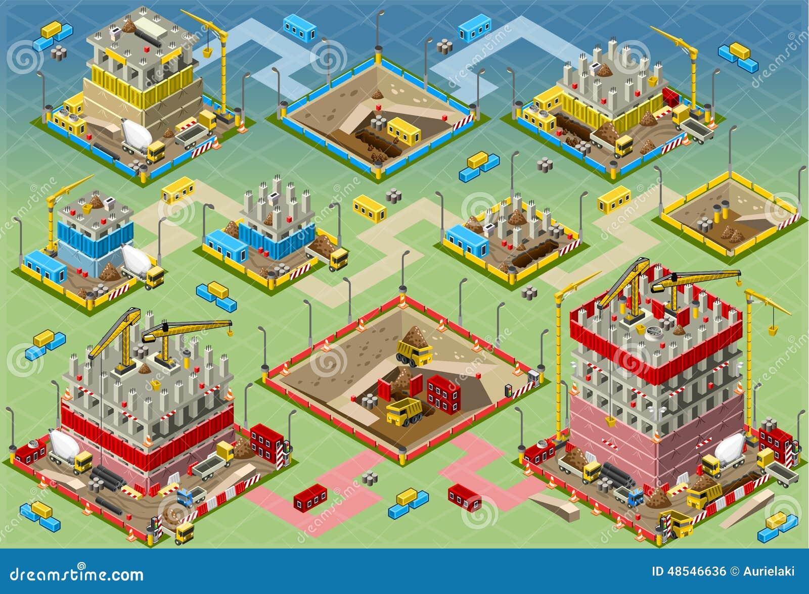 Méga isométrique de construction de bâtiments réglé