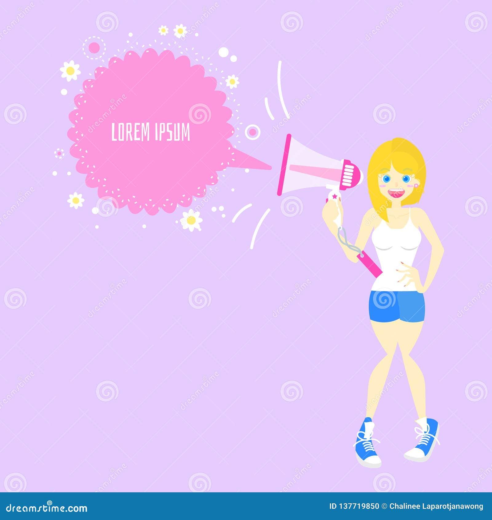 Mégaphone de participation de femme, criant avec la bulle de la parole, concept d annonce