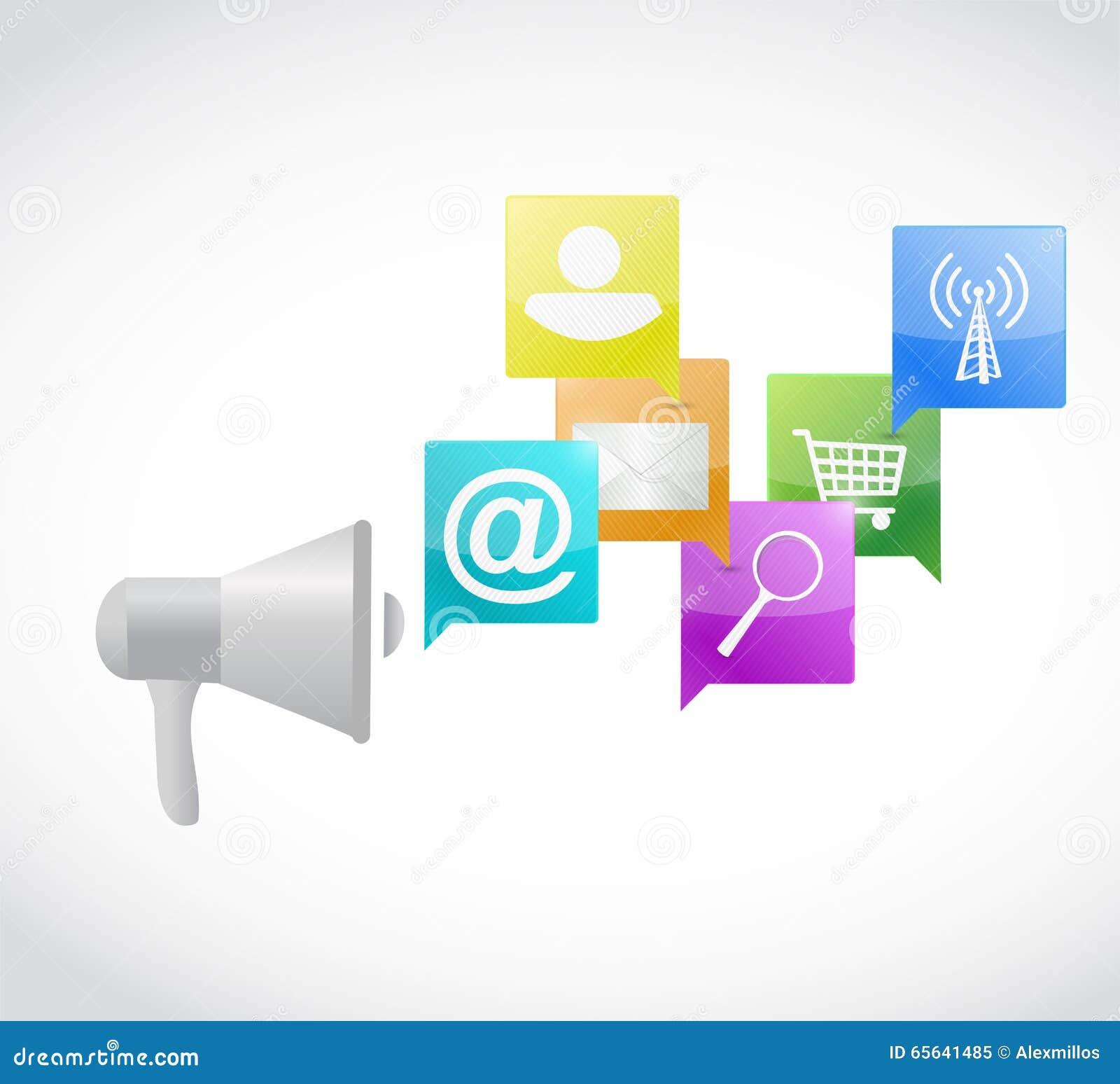 Mégaphone et ensemble de messages d icônes