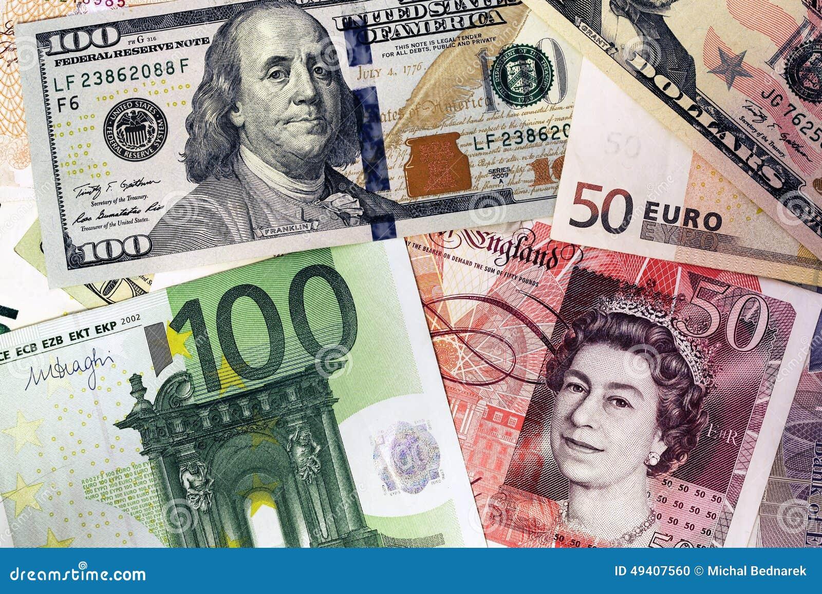 Mélange des billets de banque de devises - dollar, livre sterling, euro Argent