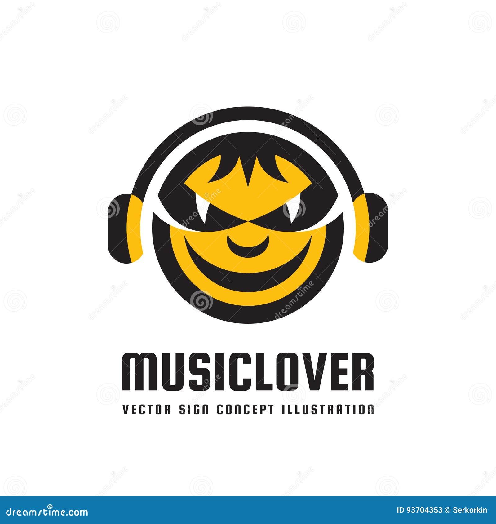 Mélomane - dirigez l illustration de concept de logo dans la conception plate de style Signe mp3 audio Icône saine moderne Symbol