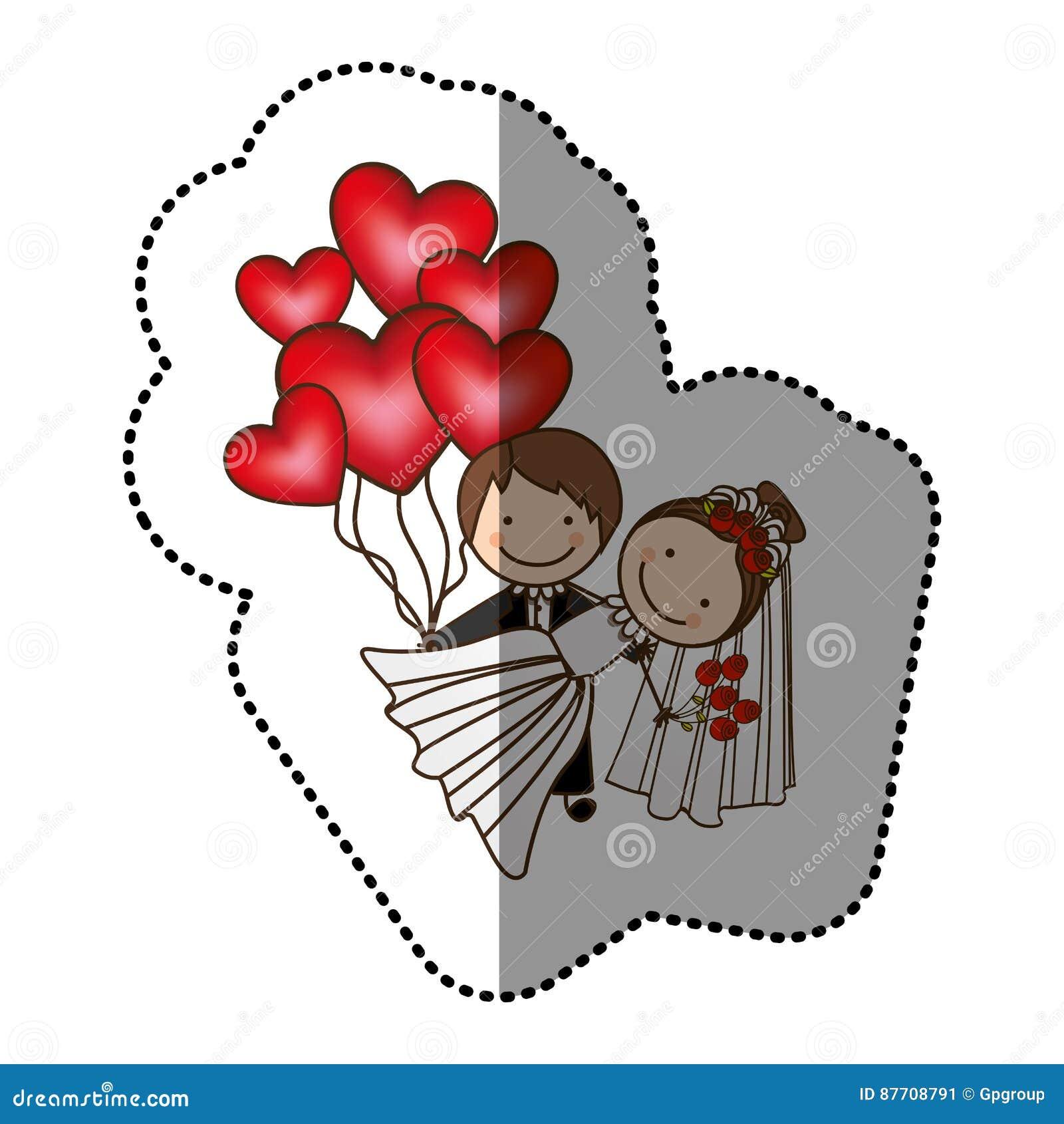 Ménages mariés par couleur avec les bombes rouges de coeur