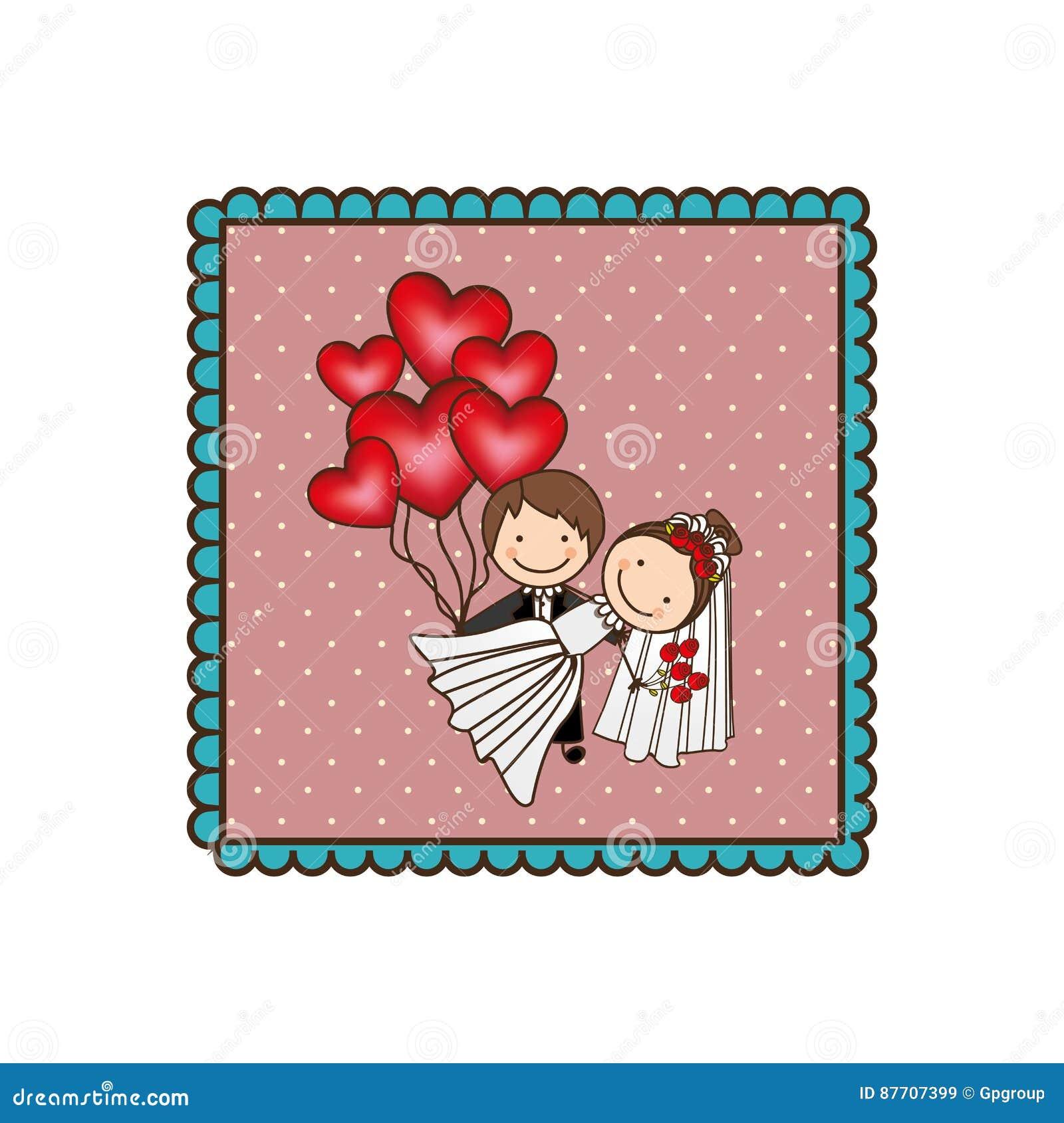Ménages mariés par emblème avec les bombes rouges de coeur