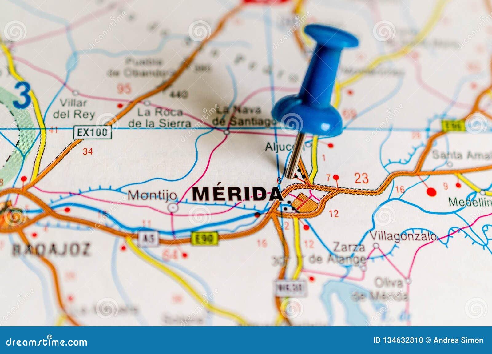 Merida On Map Stock Photo Image Of Extremadura Coast 134632810