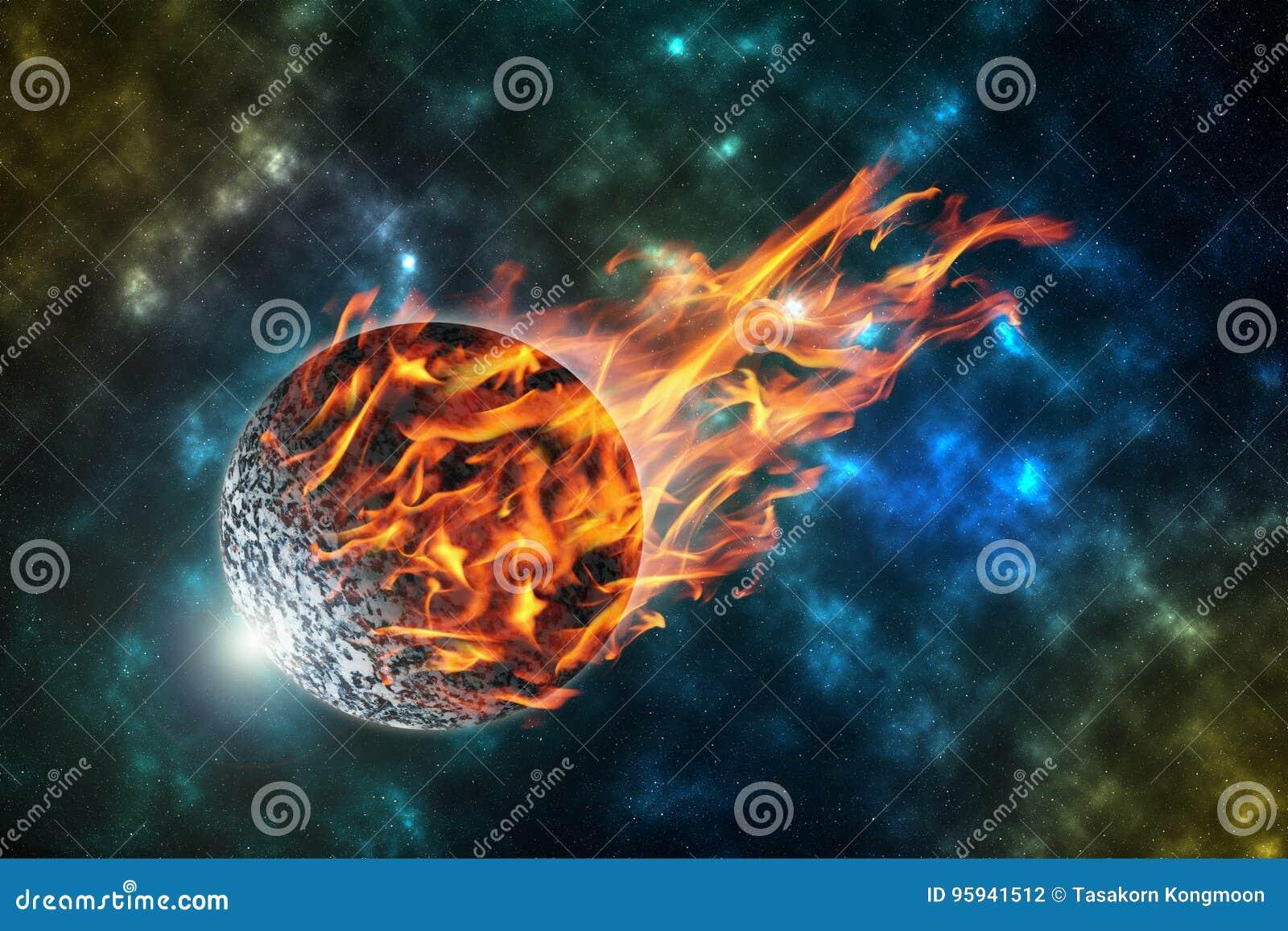 Météorite brûlante en univers, élément de cette image meublé par
