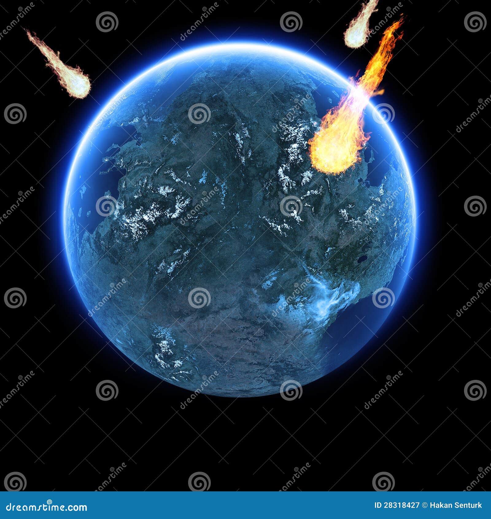 Météorites strking la terre