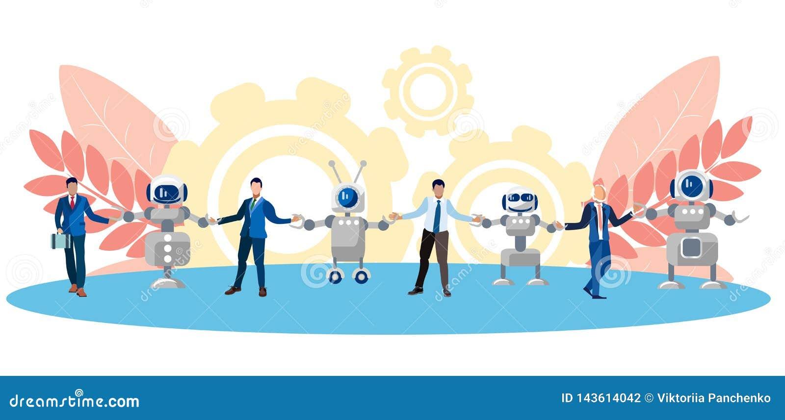 Métaphore de l amitié, de la coopération des personnes et de la technologie Chaîne d humain et de robots Dans le style minimalist