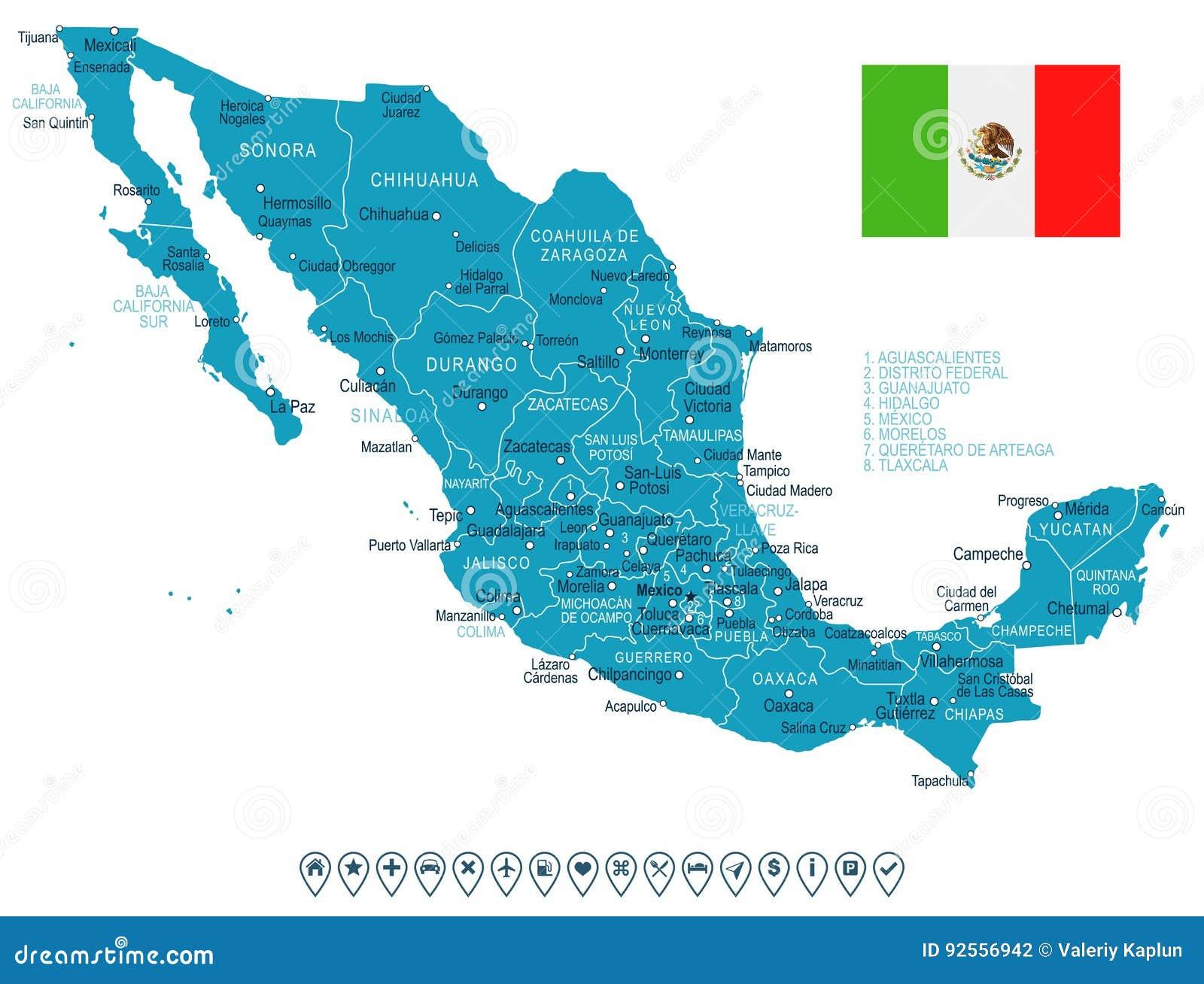 Mexico Mapa Y Bandera Ejemplo Stock De Ilustracion Ilustracion