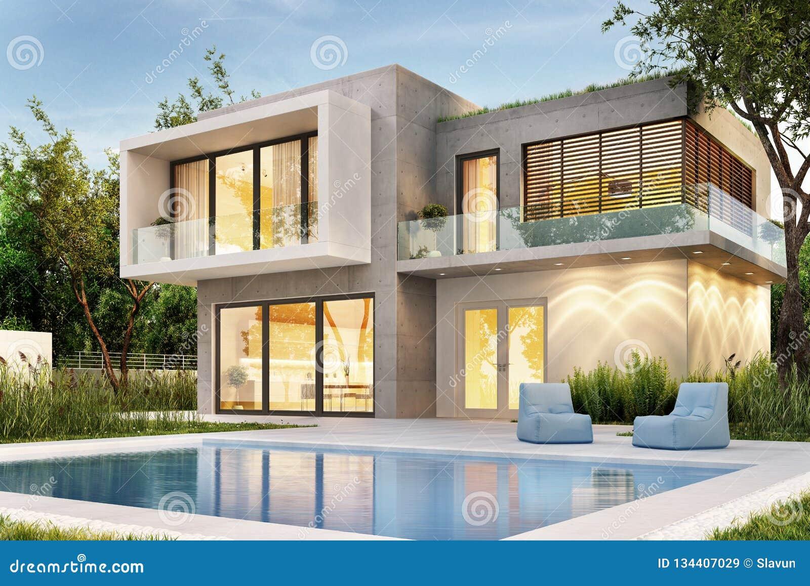 Meme La Vue D Une Maison Moderne Avec L Eclairage Et Une Piscine Image Stock Image Du Maison Meme 134407029