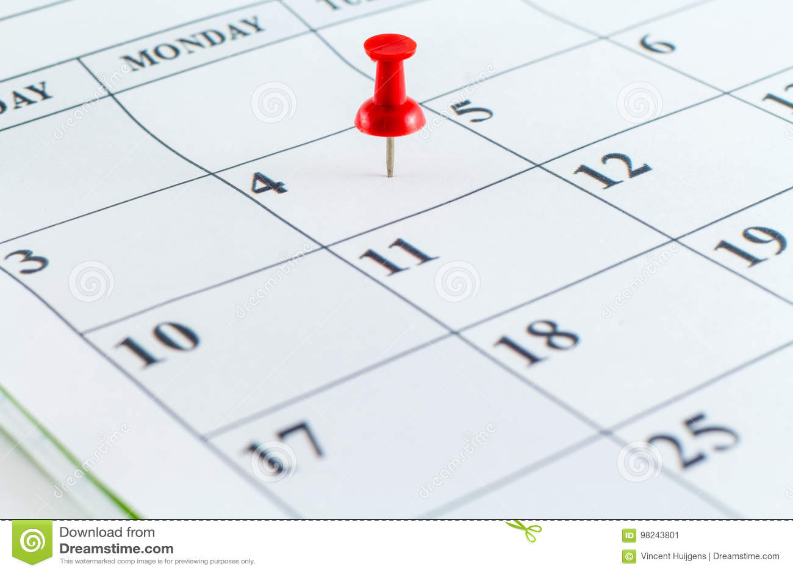 Mês da semana do dia do planejador da data de calendário