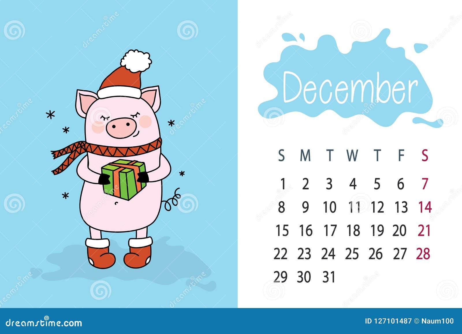 Calendario Dezembro 2019 Bonito.Mes De Dezembro Pagina Do Calendario De 2019 Anos Com O