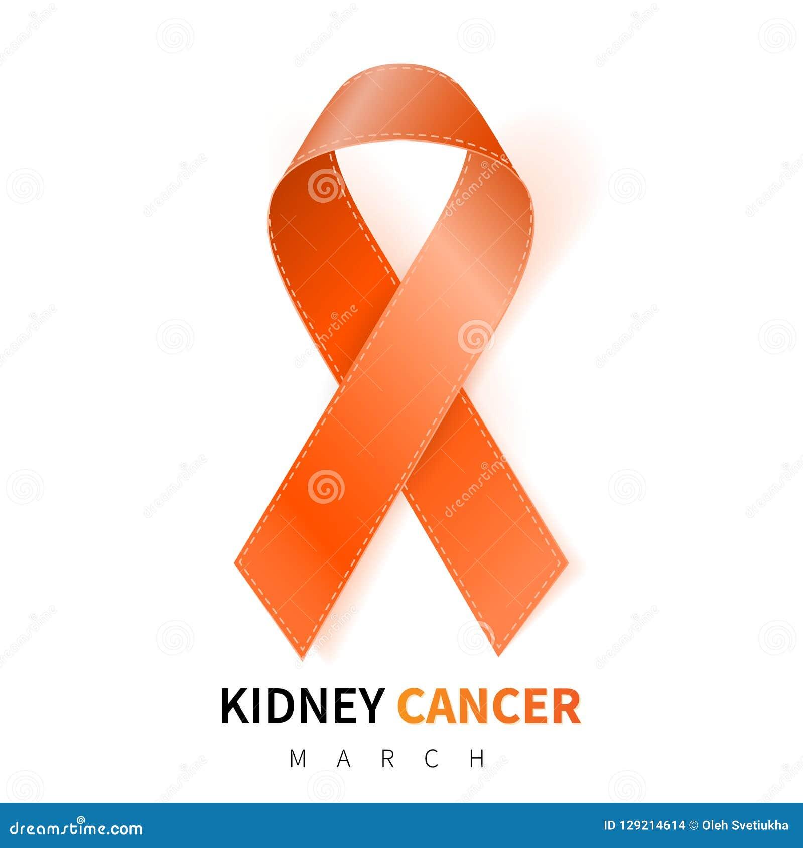 Mês nacional da conscientização do câncer do rim Símbolo alaranjado realístico da fita Projeto médico Ilustração do vetor