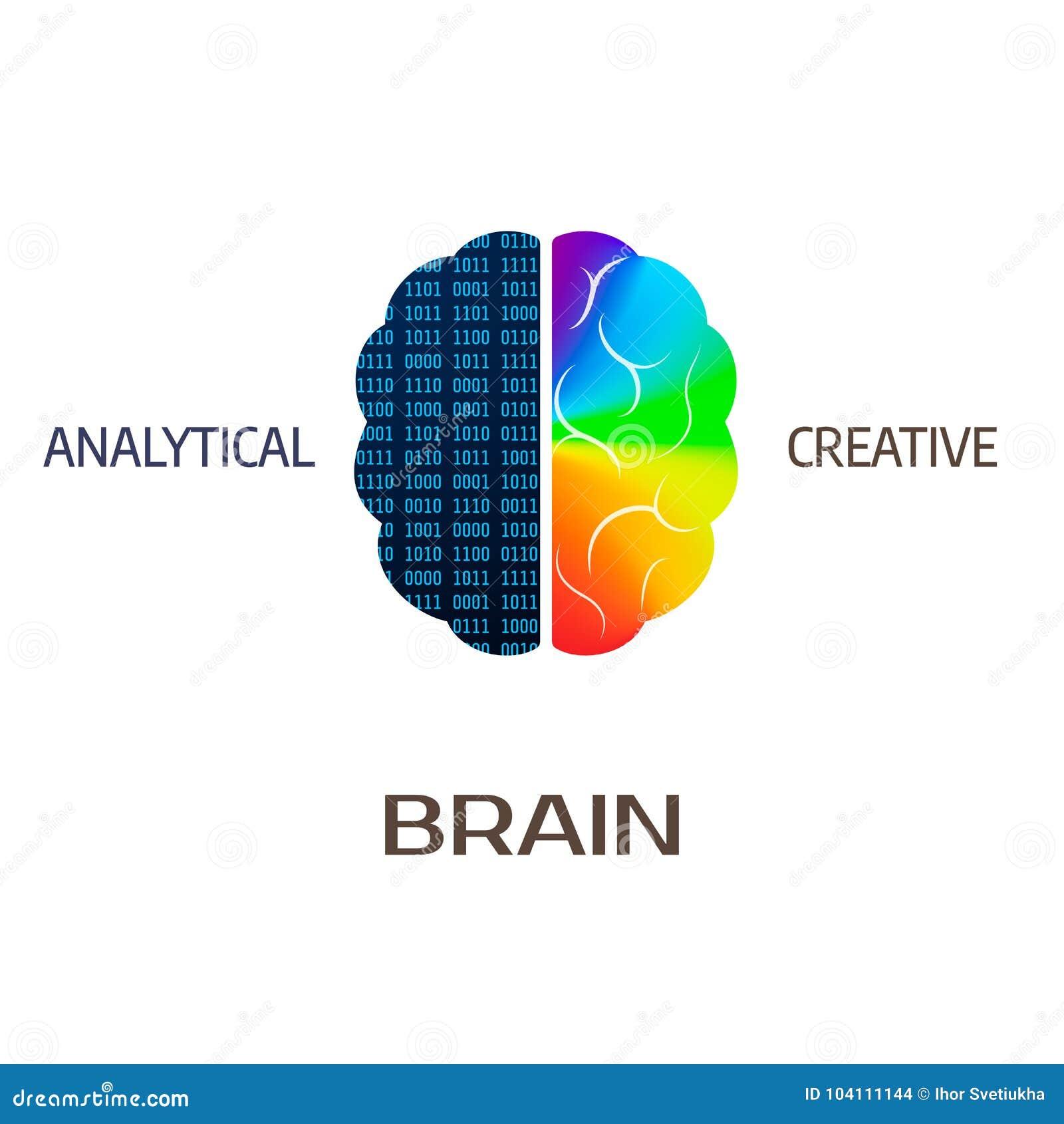 Móżdżkowa ikona Lewego mózg część - analytical Prawa hemisfera mózg - kreatywnie również zwrócić corel ilustracji wektora