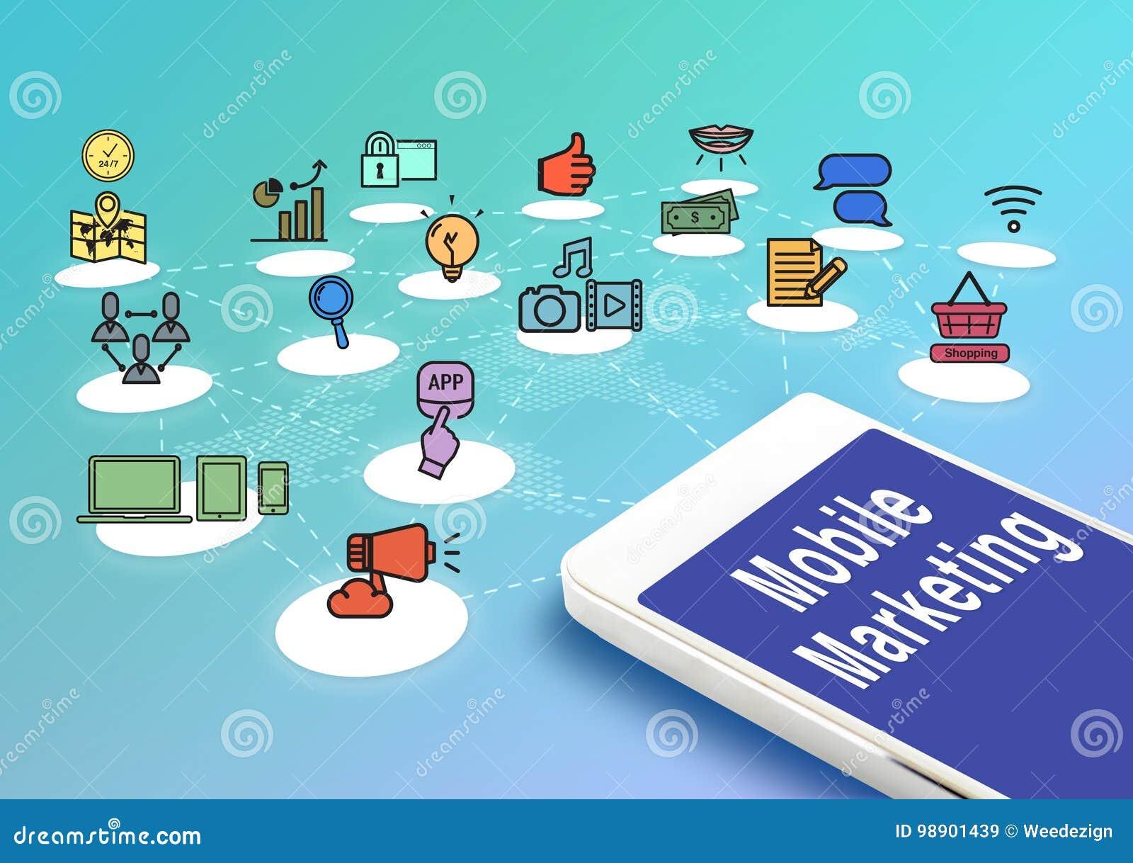 Móbil com mercado e ícones móveis, concep do mercado de Digitas