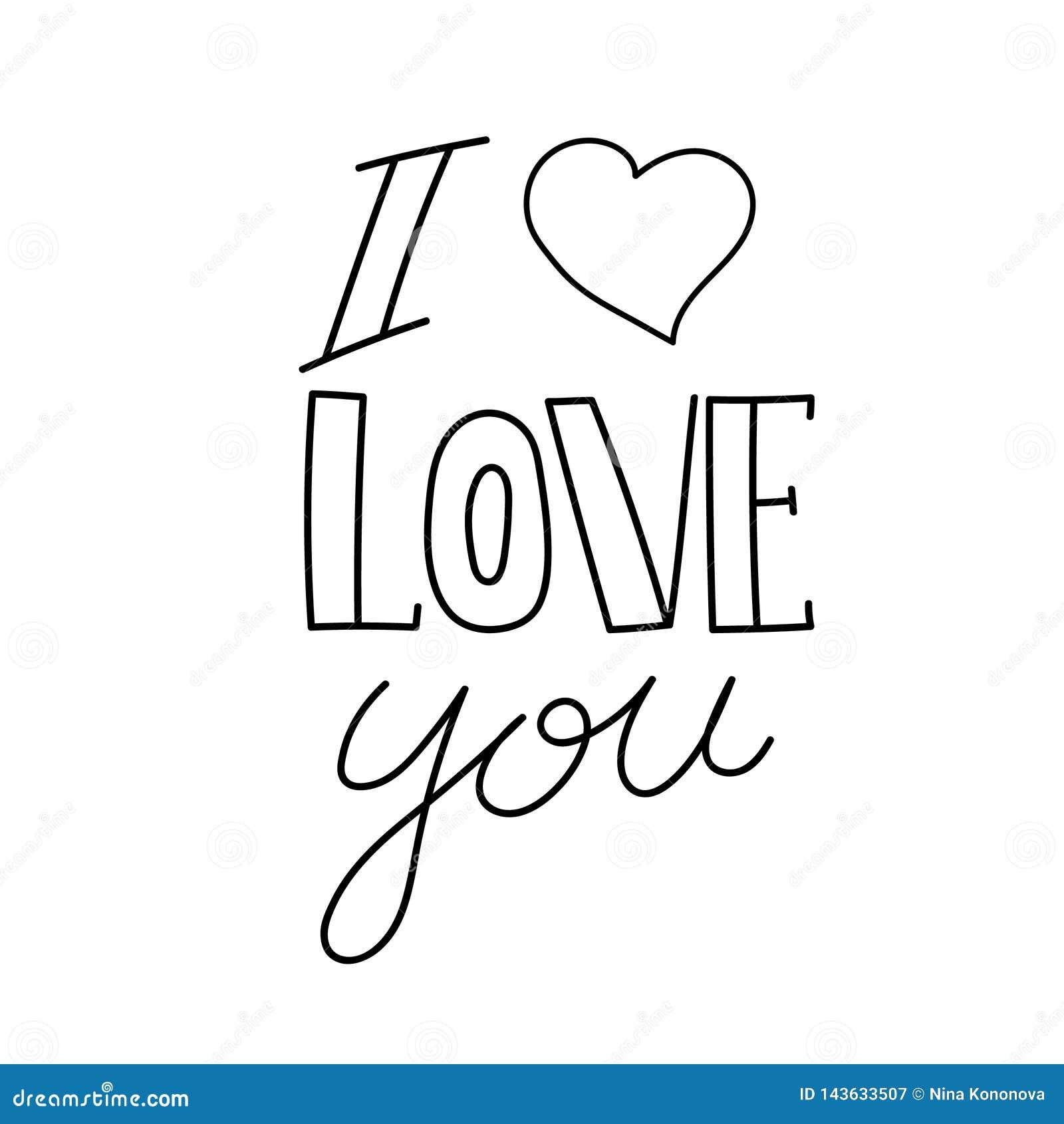 Mój kocha kocham cię Wektorowa ręka rysujący kaligrafia zwrot tła karciana powitania strony szablonu cechy ogólnej sieć literowan