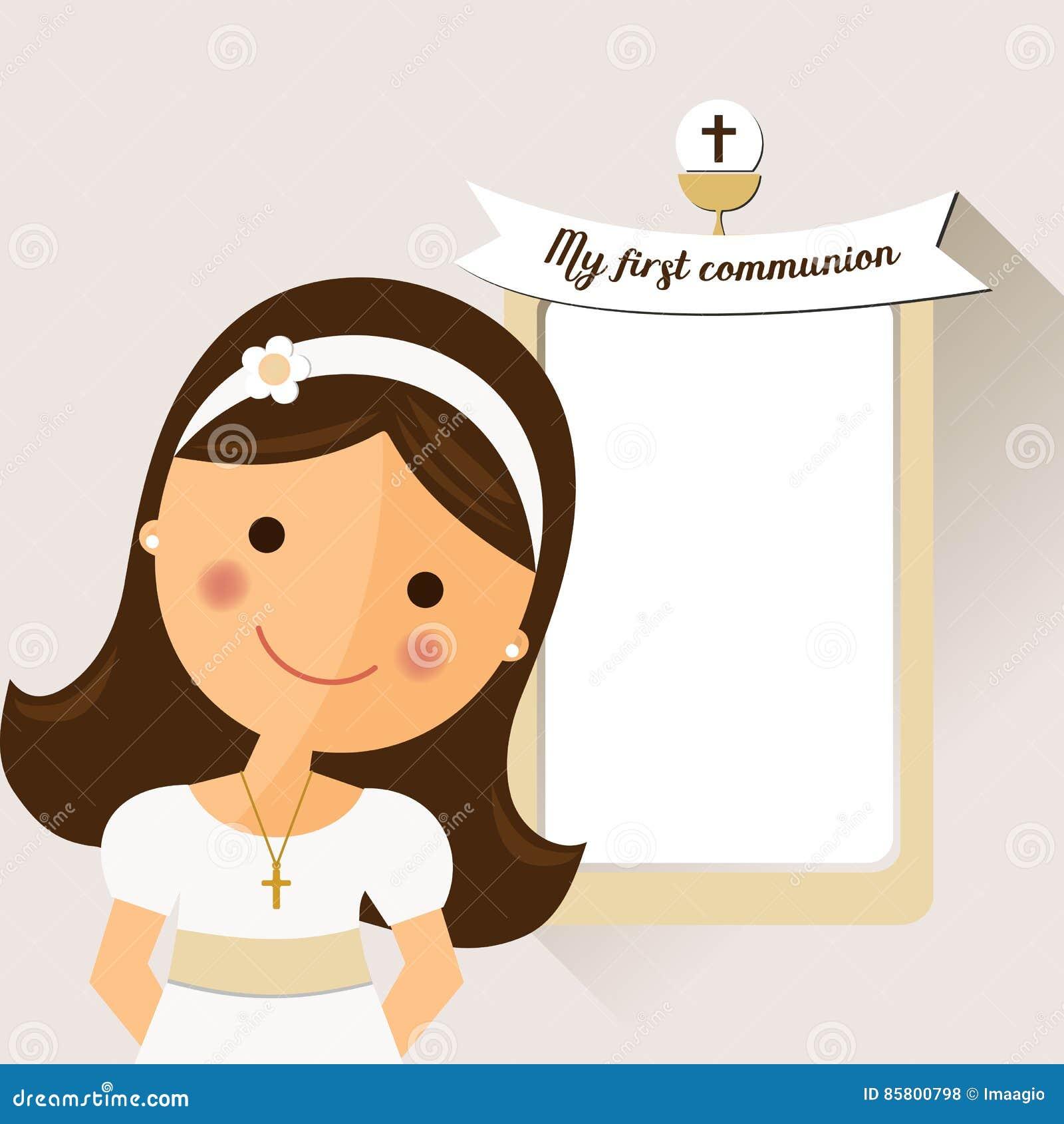 Mój pierwszy communion zaproszenie z wiadomości i przedpola dziewczynami