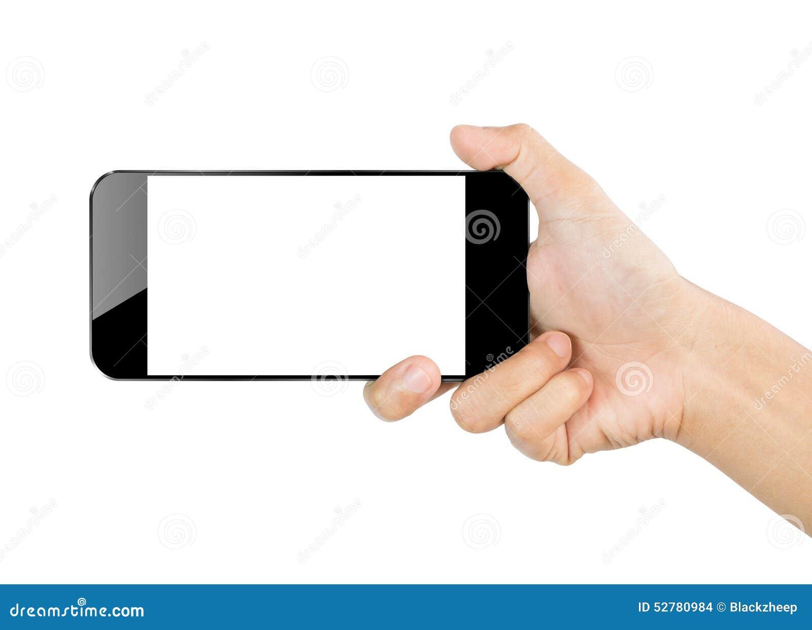 Móvil del smartphone del control de la mano del primer aislado en la trayectoria de recortes blanca dentro