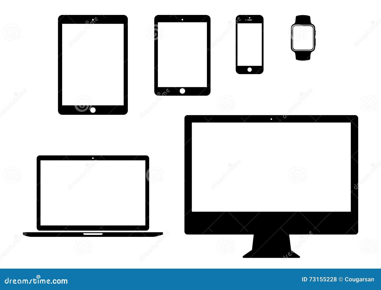 Móvil, tableta, ordenador portátil, sistema del icono del artilugio del ordenador