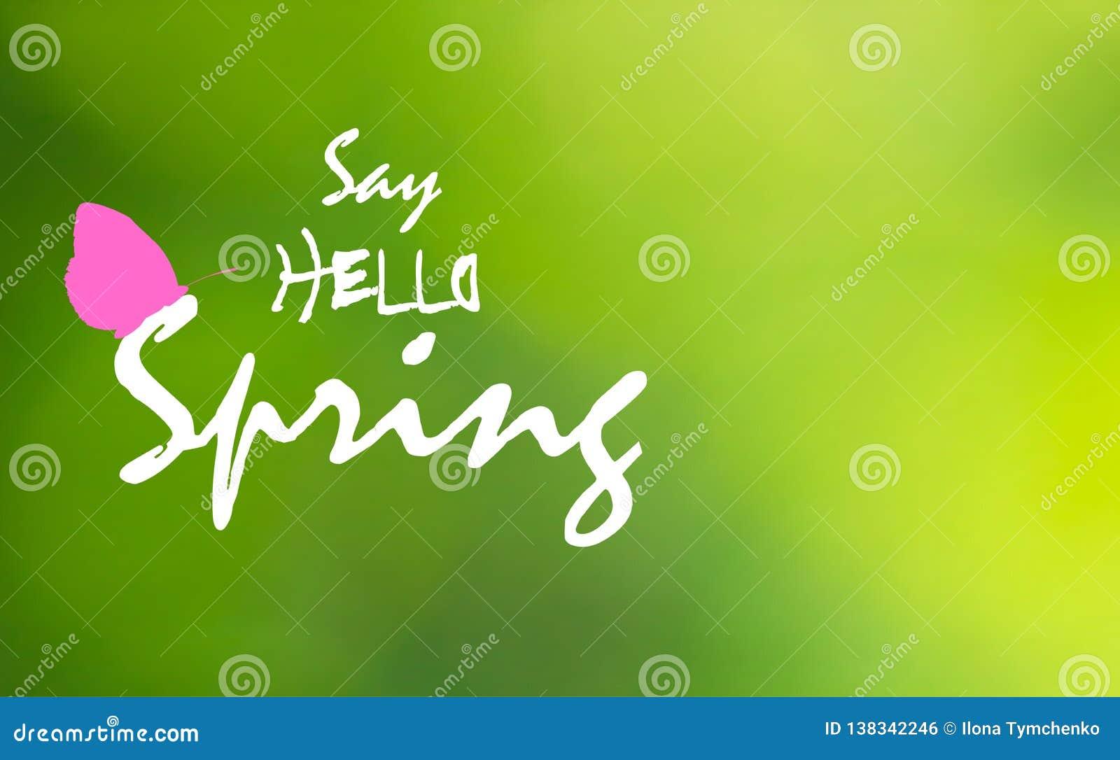 Mówi wiosnę i menchie na zielonym rozmytym tle blutterfly Cześć, wektor eps 10
