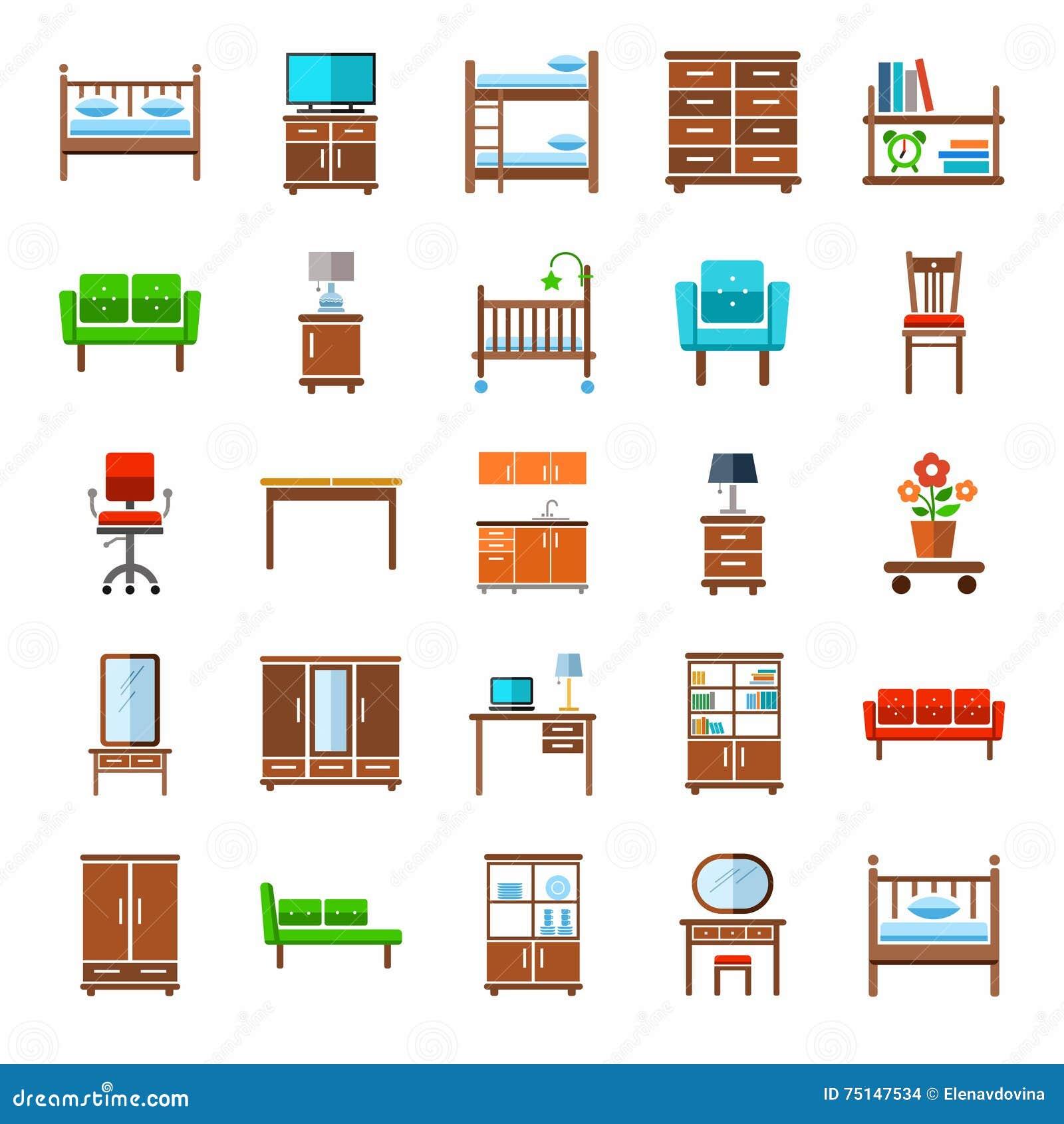 moderne moebel fuer haus, möbel, ikonen, gefärbt vektor abbildung. illustration von feldbett, Design ideen