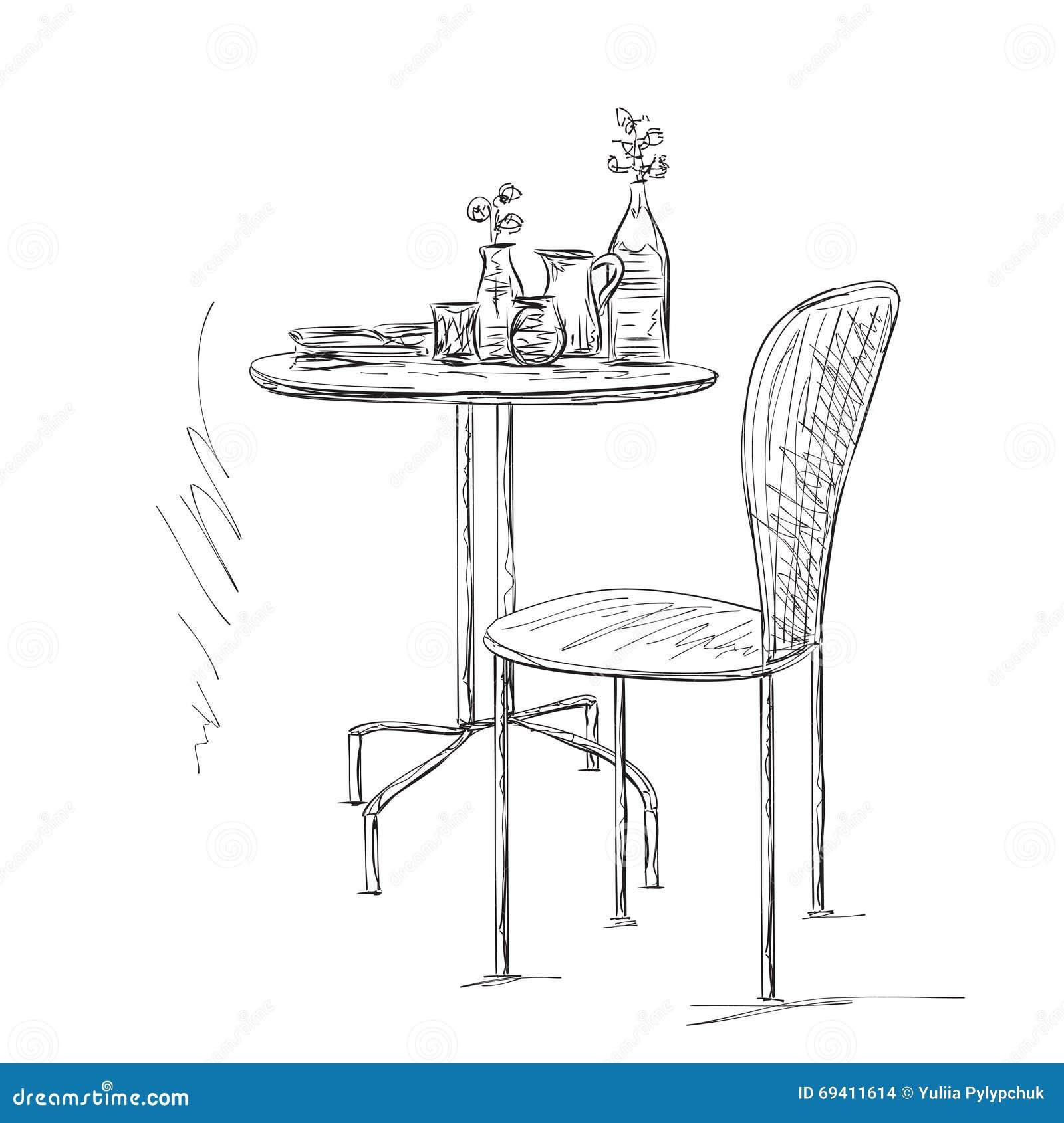 Mobel Im Sommercafe Stuhl Und Tabellenskizze Vektor