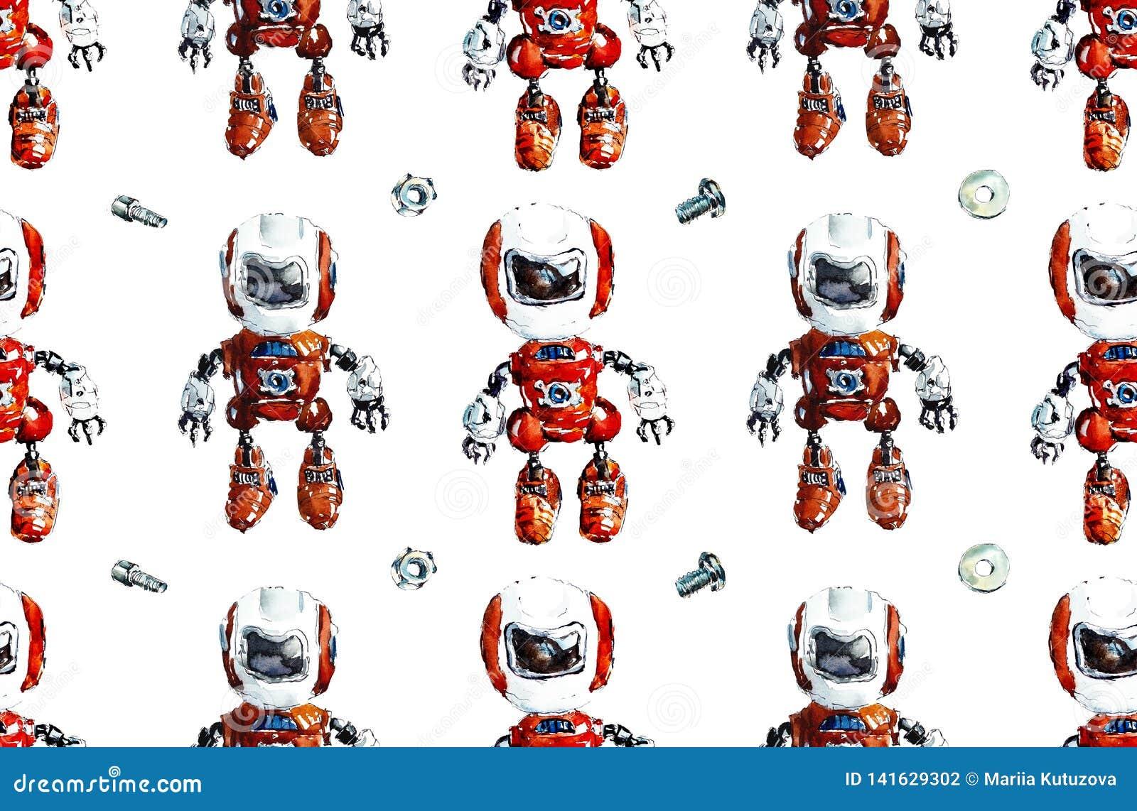 Mönstrad seamless robotar Dragen illustration för vattenfärg hand