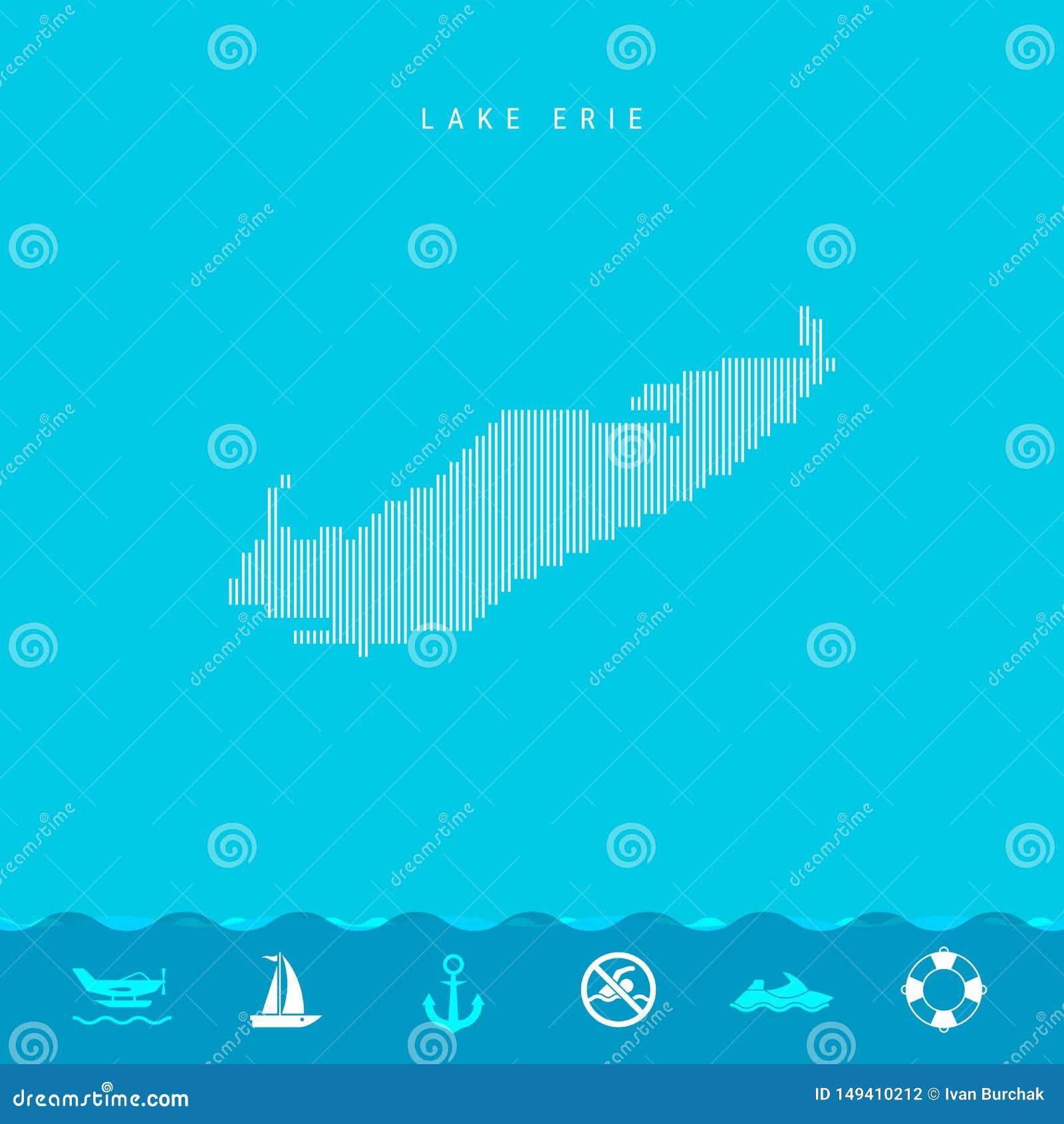 Mönstrar vertikala linjer för vektor översikten av Lake Erie Randig enkel kontur av Lake Erie Livräddare Watercraftsymboler